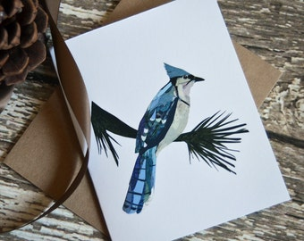 Blue Jay Card of Original Collage
