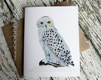 Snowy Owl Greeting Card of Original Collage