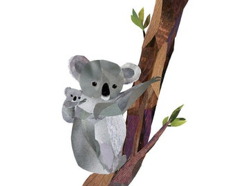 Koala and Baby Print of Original Collage