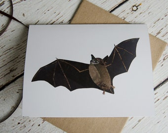 Little Brown Bat Card of Original Collage