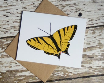 Eastern Tiger Swallowtail Butterfly Card of Original Collage