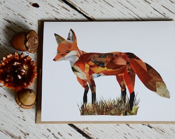 Fox Card Print of Original Collage