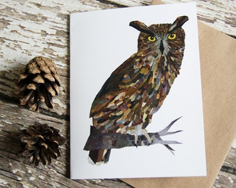 Great Horned Owl Card of Original Collage