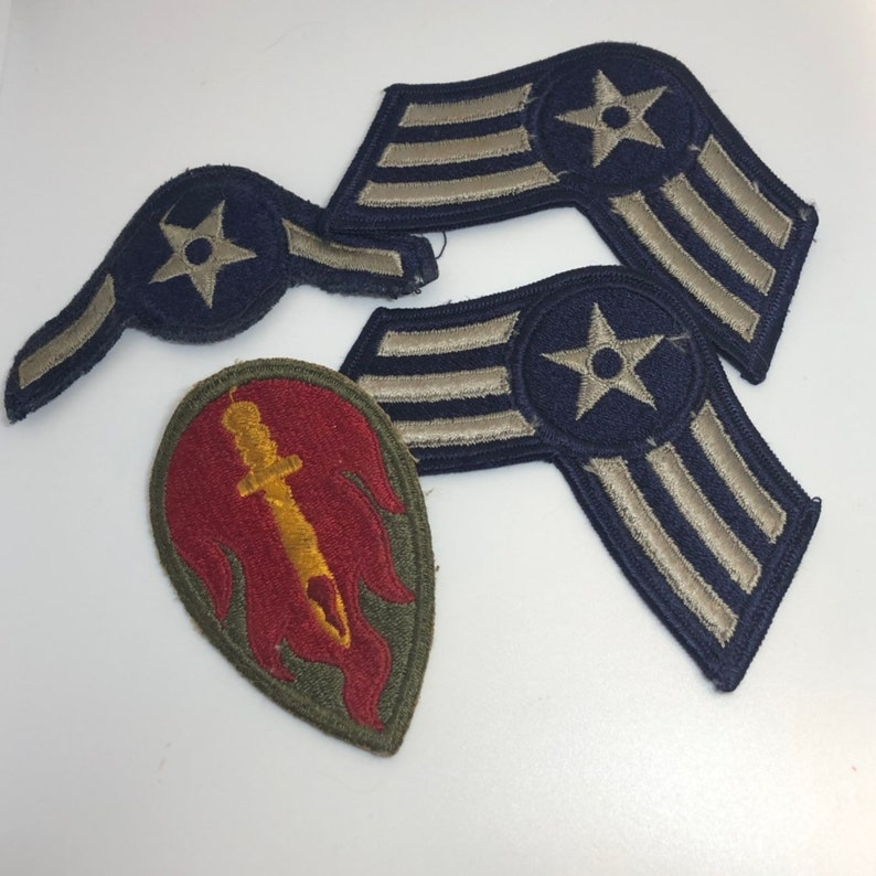 Vintage Military Patches Airforce Army Flame Sword Star Stripes