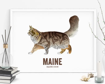 Maine State Cat, Cat print, Cat Art, Vintage Map art, Art print, Wall decor, Gift for her, Cat decor, Map prints - Maine Coon