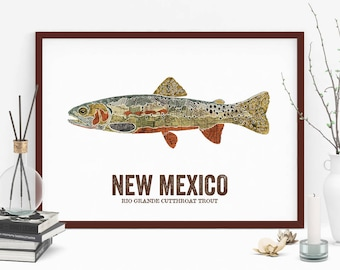 New Mexico State Fish, Map art, Outdoor art, Lake House, Art print, Wall decor, Fish Art, Mancave, Fisherman gift-Rio Grande Cutthroat Trout