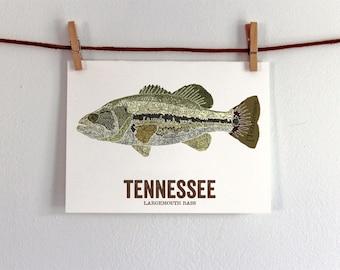 Tennessee State Fish, Map art, Nature Outdoor art, Vintage Map art, Art print, Fish Wall decor, Fish Art, Gift For Men - Largemouth Bass