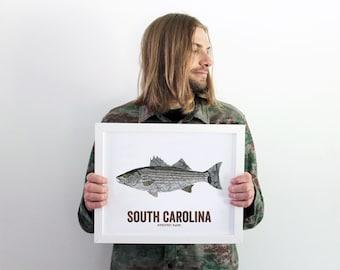 South Carolina State Fish, Map art, Nature Outdoor art, Vintage Map art, Art print, Fish Wall decor, Fish Art, Gift For Him - Striped Bass