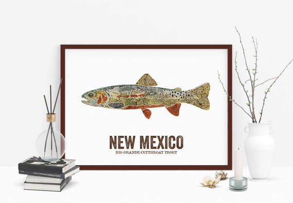 Brook Trout Fly Fishing Art Print Wisconsin State Map Vintage Cabin Wall Decor