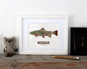 Michigan State Fish, Map art, Nature Outdoor art, Vintage Map art, Art print, Fish Wall decor, Fish Art, Gift For Men - Brook Trout