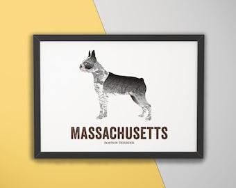 Massachusetts State Dog, Dog print, dog Art, Vintage Map art, Art print, Wall decor, Map prints, Gift for dog lovers - Boston Terrier