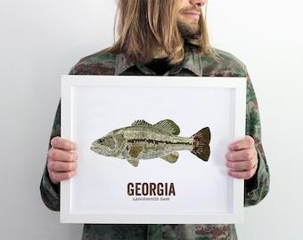 Georgia State Fish, Map art, Nature Outdoor art, Vintage Map art, Art print, Fish Wall decor, Fish Art, Gift For Dad - Largemouth Bass