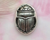 ANTIQUE SILVER Egyptian Scarab Beetle Shell Stampings Jewelry Ornament Findings Brass Stamping (CA-3022)