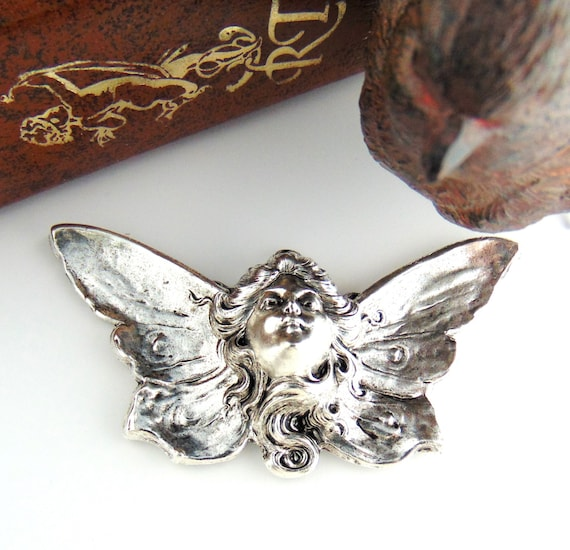 C-701 ANTIQUE BRASS Fairy Angel Stamping ~ Jewelry Finding ~ Angel Wings