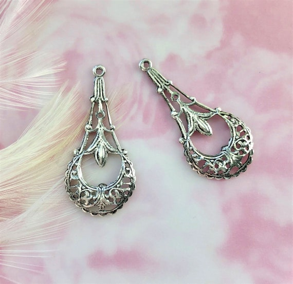 B-128 ANTIQUE SILVER 2 Pieces Art Deco Boho Earring Drops Dangles Stamping