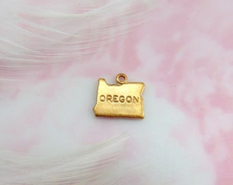 Closeout BRASS (12 Pieces) Oregon United States USA Engraved Tiny Raw Brass Charms Stampings~ Jewelry Ornament Findings  CV
