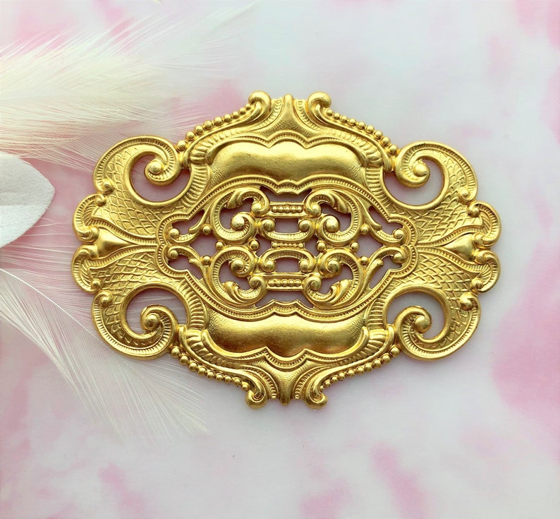 Clearance BRASS Large Ornate Oval Scroll Stamping Plaque ~ Jewelry Findings ~ Brass Stamping C-1004