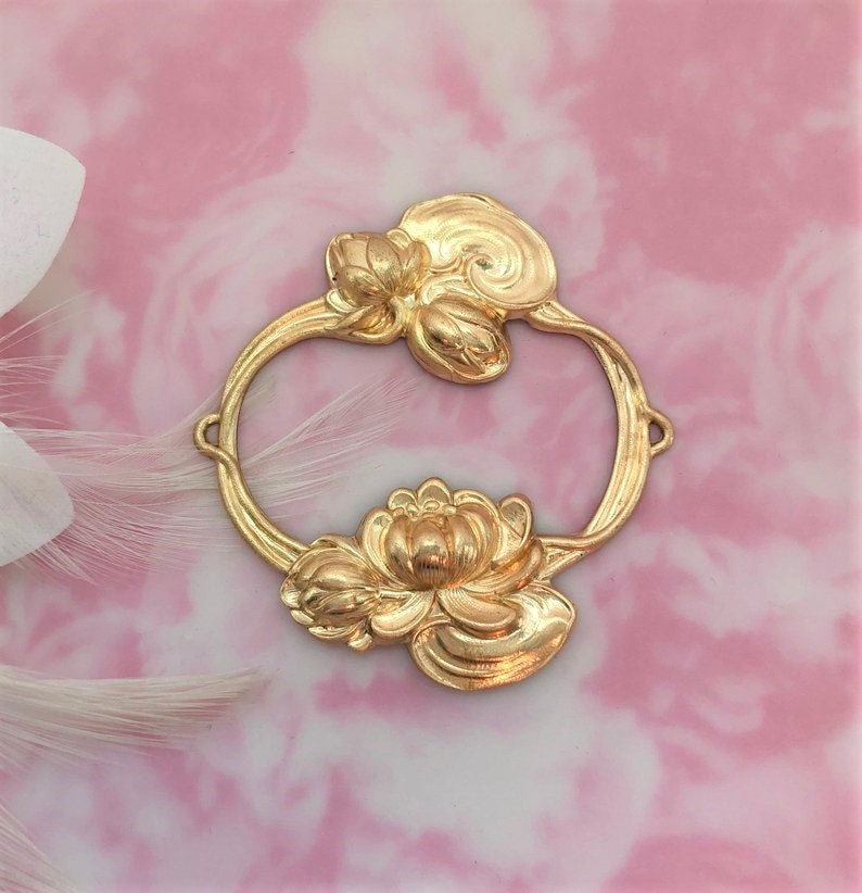 Lotus Flower Large Ornate  Vintage Brass Stamping