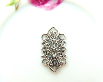 ANTIQUE SILVER (2 Pieces) Delicate Deco Link Filigree Connector ~ Stamping ~ Jewelry Oxidizied Findings (B-308)