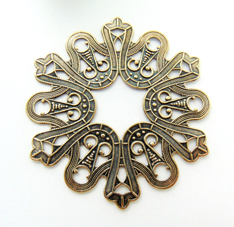 C-1303 ANTIQUE BRASS Large Ornate Plaque Art Deco Stamping Stampings ~ Jewelry Ornamental Brass Findings