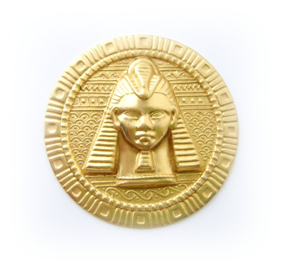 FC-19 BRASS Round Embossed Egyptian KING TUT Stamping ~ Jewelry Finding