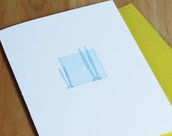 Easter Letterpress Card, Easter bunny, minimalist card, modern card, cotton card, blue, white, yellow