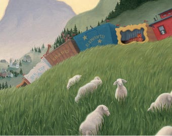 Children's Circus Train Print -- Illustration from picture book TRAINS DON'T SLEEP