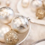 Matte Off White/Ivory Glass Christmas Ornament with Gold Lettering for the Holidays | Holiday Gifts