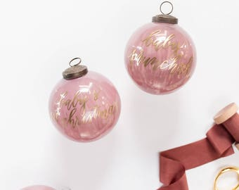 Mauve Christmas Ornament with Gold Lettering for the Holidays