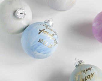 Blue Hand Painted and Hand Lettered Glass Christmas Ornament with Calligraphy Lettering for the Holidays   Holiday Hostess Gifts