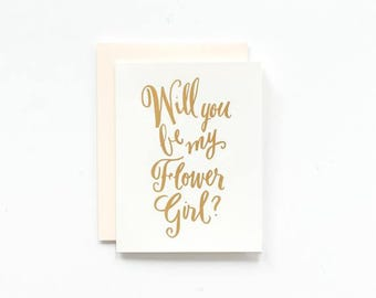 SALE! - Will You Be My Flower Girl - Gold Foil Greeting Card