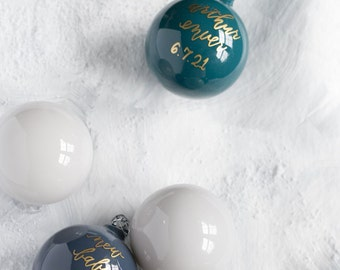 Hand Lettered Glass Christmas Ornament with Calligraphy Lettering for the Holidays   Holiday Hostess Gifts