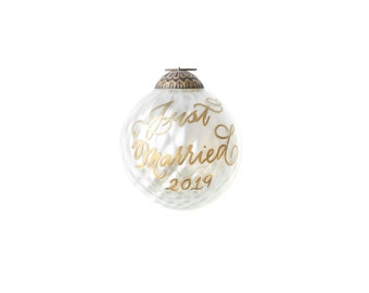 White Geo Mercury Glass Christmas Ornament with Calligraphy Lettering for the Holidays   Holiday Hostess Gifts