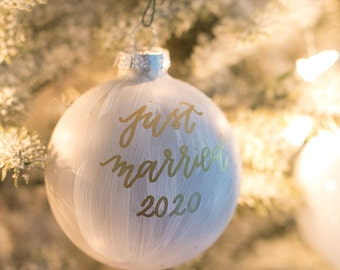 Stone Gray Hand Painted and Hand Lettered Glass Christmas Ornament with Calligraphy Lettering for the Holidays   Holiday Hostess Gifts