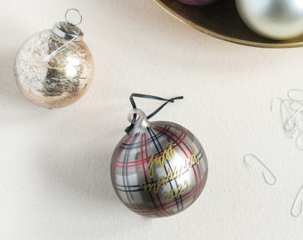 Hand painted Plaid Glass Christmas Ornament with Black Lettering for the Holidays   Christmas Gifts   Hostess Gifts