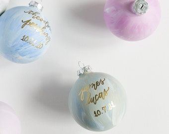 Sage Green Hand Painted and Hand Lettered Glass Christmas Ornament with Calligraphy Lettering for the Holidays   Holiday Hostess Gifts