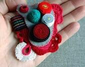 Felt and crochet brooch