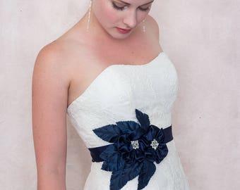 Nuit marine fleur en soie et ruban de ceinture mariée mariage ceinture de jardin