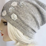 Cashmere Knit Beanie, Skull Cap, Gray Sparkly Knit Hat with Sequin Appliques, winter hat, womens