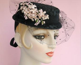 Eliza Black Straw Boater with Vintage Veil, Straw Hat, Millinery