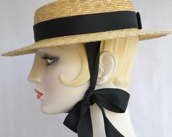 Gigi Straw Boater with Black Ribbon Ties, Straw Hat, Millinery, Edwardian