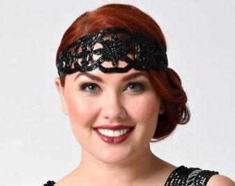 Vamp Flapper Headband Jet Black, Stretch Headband, Gatsby Style, Deco