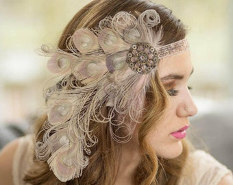 Antoinette Nymph Peacock Feather Flapper Headband