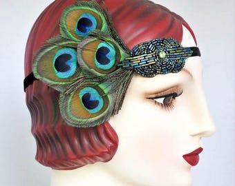 Peacock Feather Headband, 1920s Flapper, Saloon Girl, Belle Epoch, Emerald Green