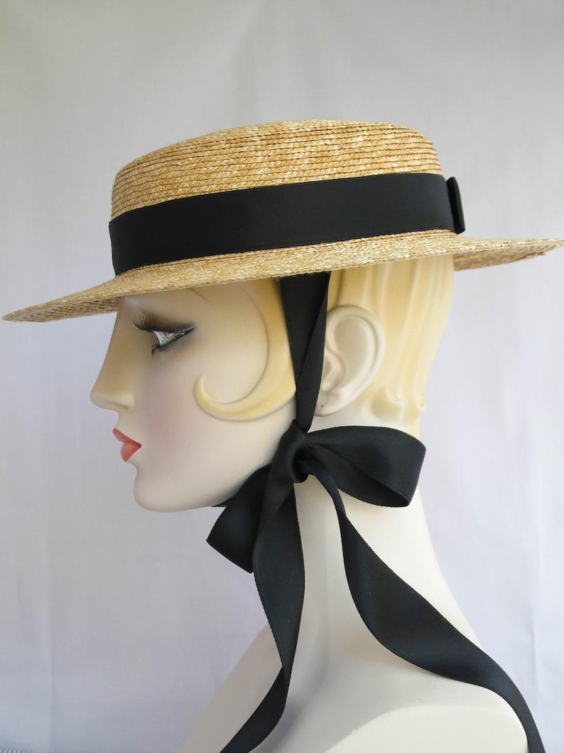 445a5196b80dd Gigi Straw Boater with Black Ribbon Ties Straw Hat