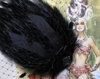 Burlesque Black Veil And Feather Hair Clip // Your Choice Of Brooch