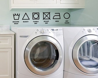 Vinyl Wall Decal - Laundry symbols