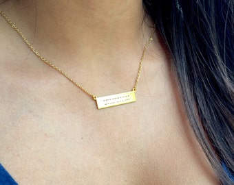 Morse Code Necklace Code Jewelry Hidden Message Necklace Gold Bar Necklace Bridesmaids Gift Mothers Jewelry