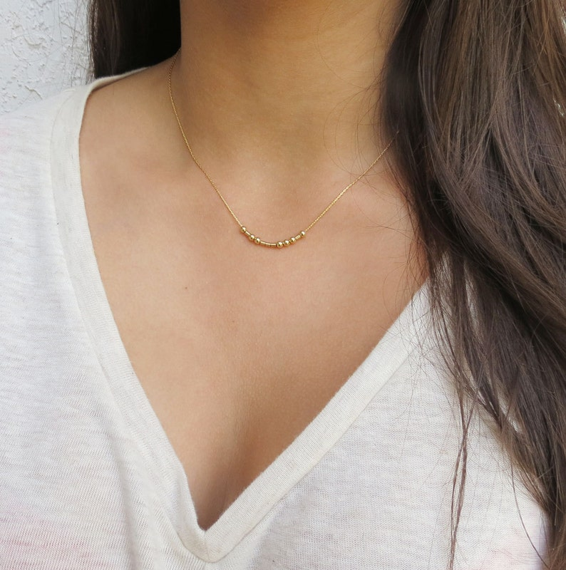 Morse Code Necklace in Gold Dainty Necklace with  Hidden image 0