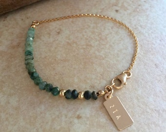 EMERALD Bracelet Ombre design Personalized  Raw Gemstone Bracelet Best Friend Gift Emerald Jewelry  Gold  Gift for Mom Bridesmaid Gift